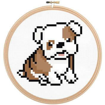 Counted Cross Stitch Dog Pattern - Bull Dog Cross Stitch Pattern