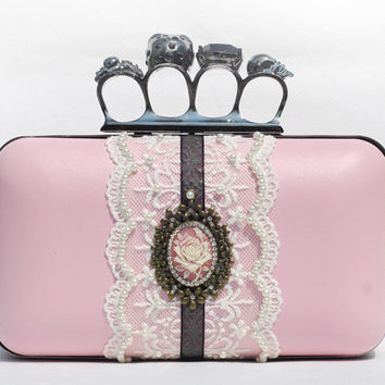 Pink Leather Brides Skull Knuckle Box Clutch White Black Lace Flower Pearl Prom Bag Wedding Cocktail Purse Minaudière as Alexander McQueen