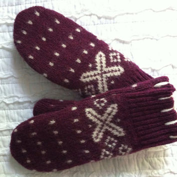 Wool Mittens made from recycled sweaters - felted mittens