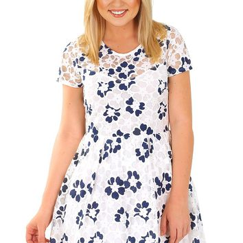 Way You Look Tonight Dress: White/Navy - Dresses - Hope's Boutique