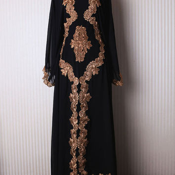 Gold Embroidery Bridesmaid Wedding Caftan Dress Dubai very fancy Black kaftan abaya jalabiya Ladies Maxi Kaftan Dress