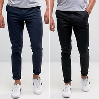 ASOS DESIGN 2 pack skinny chinos in black & navy save at asos.com