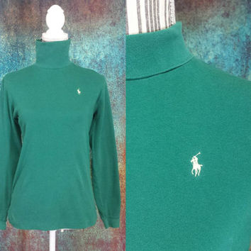90s Polo Turtleneck Vintage Ralph Lauren Pony Logo Made In USA Long Sleeve Shirt Green Retro Top Sweater Pullover Jumper Blouse 100% Cotton