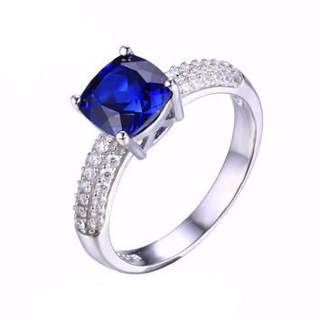 925 Sterling Silver Cushion Cut 2.6ct Created Blue Sapphire Solitaire Engagement Ring