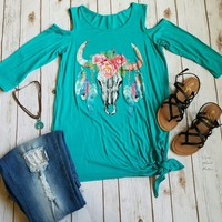 Kami Cold shoulder Steer Skull Top - Also in Plus Size
