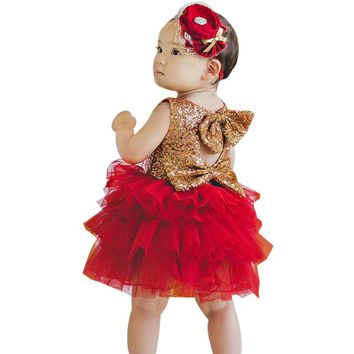 Little Girl's Gold Sequin Dress With Red Tutu Tulle