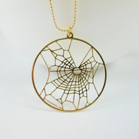 Gold spider web under influence of marijuana- THC necklace- Spider under the influence of cannabis- 24 karat gold plated necklace