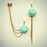 mint flower ear cuff and earrings, chain ear cuff, ear cuff with gold