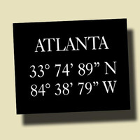 Atlanta Coordinates Longitudine and Latitudine Print Customizable Home Decor Wall Decor C003B
