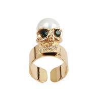 Women Statement Gold Color Open Skull Ring