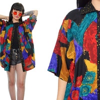 vintage 90s new wave oversized blouse vivid geometric slouchy shirt top gemstone buttons abstract novelty medium large
