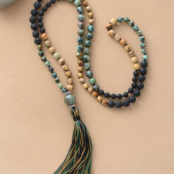 108 Beads Mala Natural Stone Lava Beads Long Tassel Necklace Women Meditation Necklace Bead Knotted Yoga Necklace Jewelry