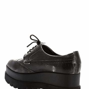 Cleated Platform Grey Brogues