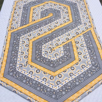 Triangle Frenzy Table Runner Topper Quilted Fussy Cut Hexagon Kitchen Table