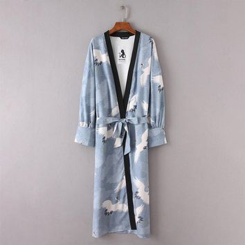 Floral Kimono Long Shirt With Belt For Women