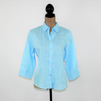 Light Blue Shirt Women Medium Button Up Top Pintuck Blouse 3/4 Sleeve Ramie Sky Blue Blouse Medium Blue Tops Womens Clothing