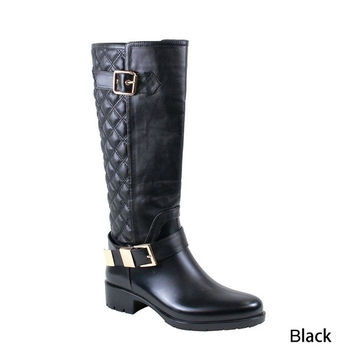 2015 New Fashion Womens Knee-High Fashionable Matte Vinyl Funky Boots Rain Boots ( BLACK HALF SIZE BIGGER) = 1945692164