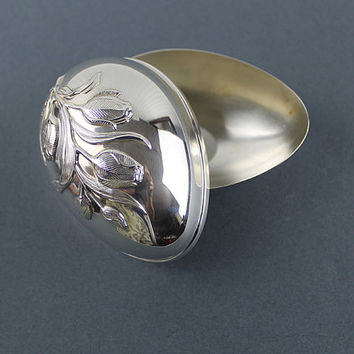 Silver Plate Egg Trinket Jewelry Ring Box, Wallace Silver 1978