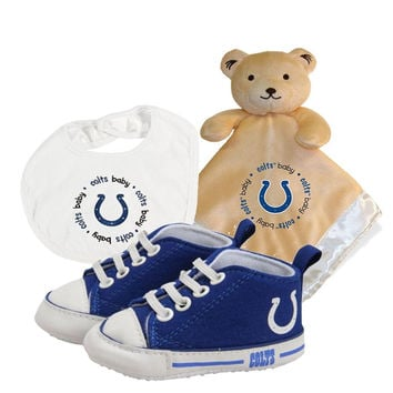 Indianapolis Colts NFL Infant Blanket Bib and Shoe Deluxe Set