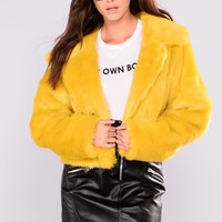 Don't Remind Me Faux Fur Jacket - Mustard