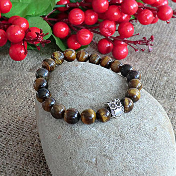 Mens Beaded Bracelet Owl Bracelet Men Jewelery Tiger Eye Bracelet Stone Bracelet Mens gift Bracelet for men