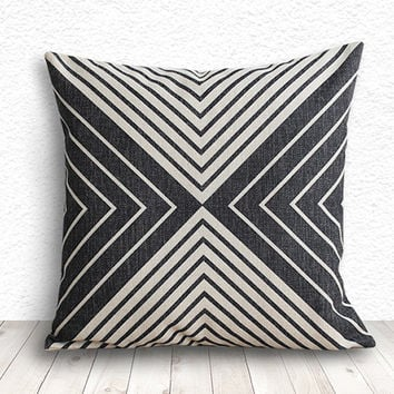 Pillow Cover, Geometric Pillow, Geometric Pillow Cover, Linen Pillow Cover 18x18 - Printed Geometric - 109