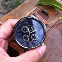 real brown leather wrist watch bracelet for men, men's wrist watch, boy wrist watch  PB037