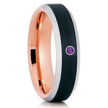 Amethyst Tungsten Ring - Rose Gold Tungsten - Tungsten Wedding Band