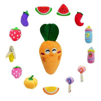 Sound Squeaker Squeak Suitable Pet Bite Play Funny Vegetable Cartoon Toy Colorful Puppy Supplies