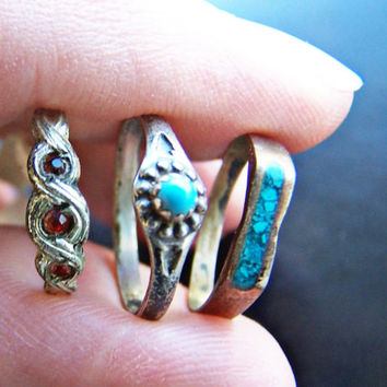 Vintage antique Sterling Baby Rings , 3 Silver Old Mexico Size 0 Turquoise and Ruby Lot of 3 Rings