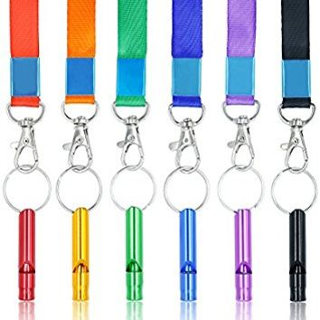 SUBANG 6 Pcs Aluminum Emergency Whistles Survival Whistle with 6 Lanyards