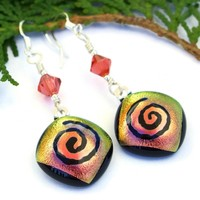 Dichroic Glass Spiral Earrings, Swarovski Crystal Peach Yellow Handmade Artisan Jewelry