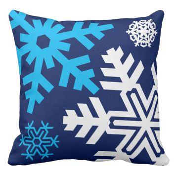 Blue And White Snowflakes composition funny Throw Pillow