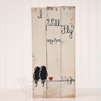 Reclaimed Wood Signs 5 year Gift Wedding Gift for Couple Love Birds on a Wire Art 5th Anniversary Gift Rustic Wood Sign Wedding Pallet Signs