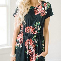 Casual Daily Round Neckline Black Floral Print Dress