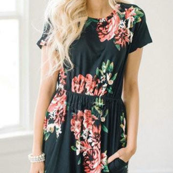 Streetstyle  Casual Casual Daily Round Neckline Black Floral Print Dress