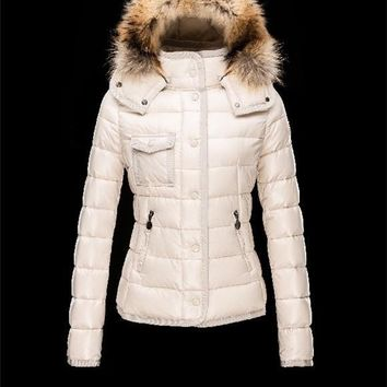 Moncler Armoise Detachable Fur Trimmed Collar Ivory Jackets Nylon/Polyamid Womens 41224515LF
