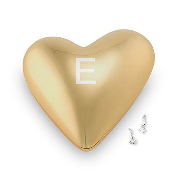 Gold Modern Heart Jewelry Box - Single Initial Etching (Pack of 1)
