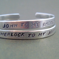 Sherlock Inspired Friendship Bracelet SET OF TWO - Hand Stamped Aluminum Cuff - names are customizable