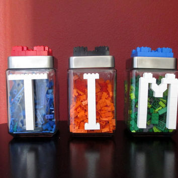 LEGO Monogram Initials Birthday Wedding Baby Shower Party Gift Centerpiece.Bridal.Housewarming Gift.LEGO Candy Jar.Hostess Gift.Home Décor