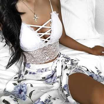 RESTOCKED! - Alyssa Criss Cross Laced Bralette (WHITE)