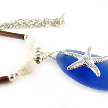 Starfish and Seaglass Necklace, Sapphire Necklace, Seashell Necklace, Beach Necklace, Natural Shell Necklace, Nature Necklace