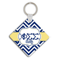 PHI SIGMA SIGMA - THIN CHEVRON BLUE AND GOLD - PHI SIG SORORITY KEYCHAIN