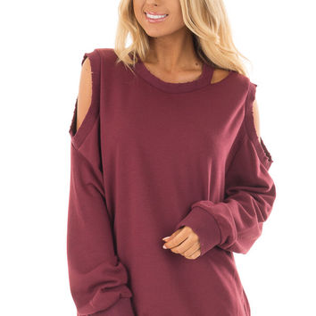 Burgundy Sweater with Cut Out Neckline and Cold Shoulders