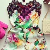 White Pink Purple Yellow Orange Green Black Floral Spaghetti Strap V Neck Lace Trim Short Romper