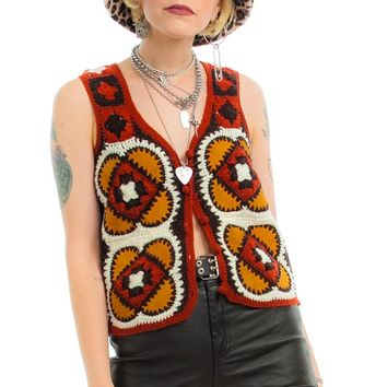 Vintage 70's Jackie Suede & Crocheted Button-Front Top - XS
