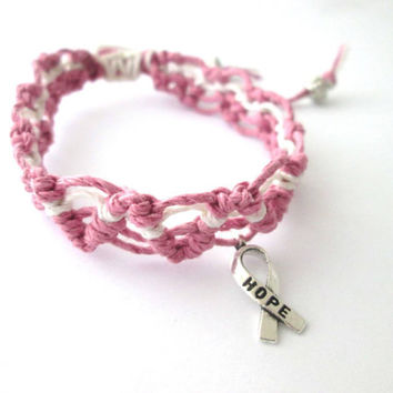 Breast Cancer Awareness Bracelet Hope Ribbon Charm Pink Hemp Bracelet Adjustable Macrame Jewelry, Find A Cure
