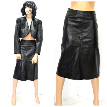 90s black leather skirt size 7 / 9, vintage gap long black leather skirt M high waisted grunge leather pencil skirt SunnyBohoVintage