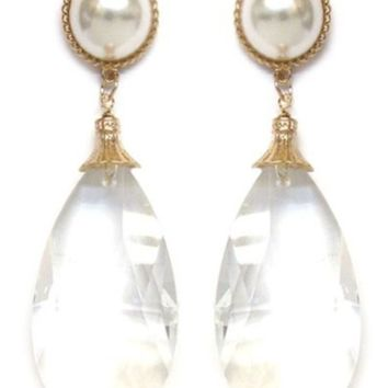 Clear Bead Drop Post Earrings