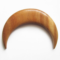 Wooden hair moon, moon hair, hairfork, bun holder, crescent moon, hair moon, mahogany
